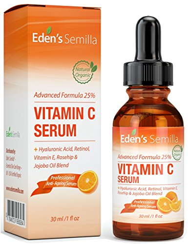 25% VITAMIN C SERUM 30ml - BEST ANTI-AGING FORMULA - Hyaluronic Acid, Retinol, Vitamin E and Rosehip & Jojoba Oil Blend. Best anti-ageing serum for the face - promotes the skin's natural defences, replaces lost moisture and dramatically reduces fine lines and wrinkles. A natural blend of clinically proven ingredients. Firmer, softer healthier looking skin....