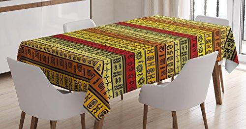 Africana mantel por Ambesonne, hechos a mano de étnico tribal patrón antiguo abstracto geométrico rayas ilustración, comedor cocina funda para mesa rectangular, 60W x 84L), multicolor