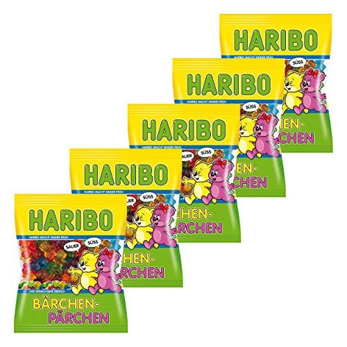 Haribo Bärchen-Pärchen, 5er Pack, Gummibärchen, Weingummi, Fruchtgummi, Im Beutel, Tüte