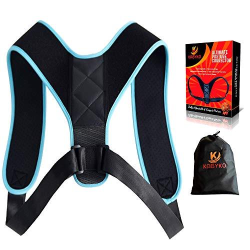 KABYKO |Corrector de Postura para Espalda Adaptable a Hombre y Mujer | Endereza Hombros, Reduce el Dolor de Espalda | Hecho de Neopreno, Perfecto para Usar en Casa, Oficina, Gimnasio | (AZUL)