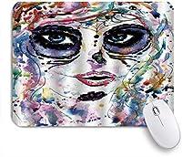 NIESIKKLAマウスパッド シュガースカルの水彩画風の不気味なハロウィーンの少女 ゲーミング オフィス最適 高級感 おしゃれ 防水 耐久性が良い 滑り止めゴム底 ゲーミングなど適用 用ノートブックコンピュータマウスマット
