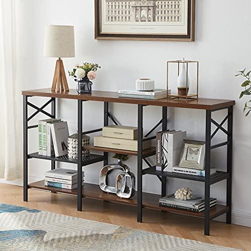 OIAHOMY Mesa de consola rústica de 59.8in, 3 niveles de altura ajustable, mesa de pasillo/entrada estrecha de entrada larga, soporte rústico para TV (marrón)