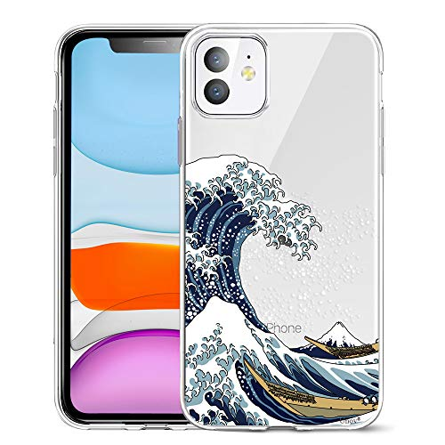 Unov Case Clear - Carcasa para iPhone 11, diseño delgado de poliuretano termoplástico suave con relieve, 6,1 pulgadas (gran onda)