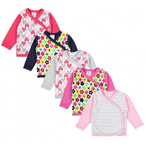 TupTam Baby Mädchen Langarm Wickelshirt Baumwolle 5er Set, Farbe: Mehrfarbig 1, Größe: 56