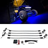LEDGlow 4pc Blue LED Golf Cart Underbody Underglow Accent Neon Light Kit for EZGO Yamaha Club Car - Water Resistant Flexible Tubes - Includes Control Box & Wireless Remote