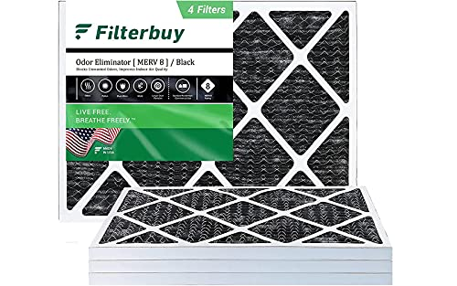 FilterBuy 20x25x1 Air Filter MERV 8 (Allergen Odor Eliminator), Pleated HVAC AC Furnace Filters with Activated Carbon (4-Pack, Black)