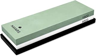 Navaris piedra para afilar cuchillos con doble cara - Piedra afiladora de cuchillo 2en1 con grano 1000/4000 - Con soporte de silicona antideslizante