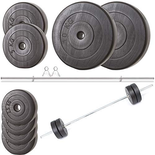 Nurtextil24 Hantelset 150cm Langhantel mit Gewichten 30kg 20kg 40kg bis 100kg Hantelstange Langhantelset 40 KG