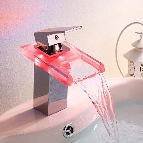WY-YAN LED grifo del lavabo del grifo de cristal luminoso coloración Cuenca Cascada grifo de la cocina Hermosa práctica