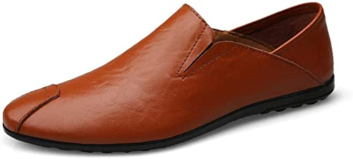 Chaussures pour Hommes Lazy Leather Flat Affaires chaussures Chaussures de Cricket (Couleur   rouge marron, Taille   44)