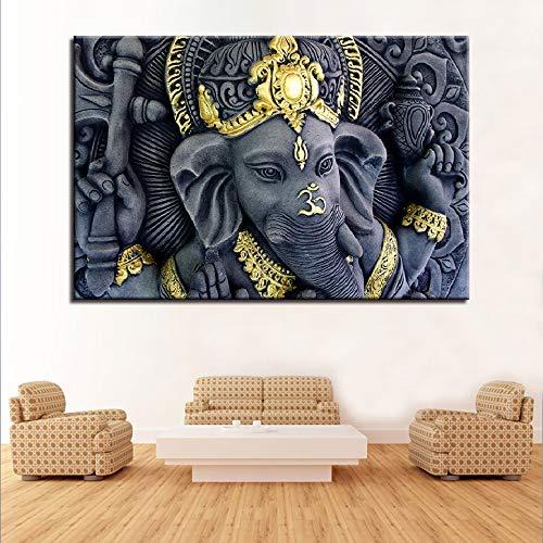 adgkitb canvas Wohnzimmer Wandkunst Bilder Hd Gedruckt Indien Elefantengott Moderne Auf Leinwand Dekoration Poster 30x45 cm KEIN Rahmen