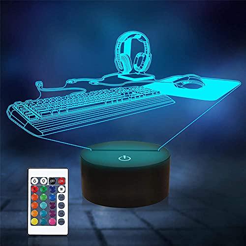 Teclado 3D ilusión lámpara Playstation luz 16 colores cambio automático escritorio decoración lámparas regalo cumpleaños con control remoto
