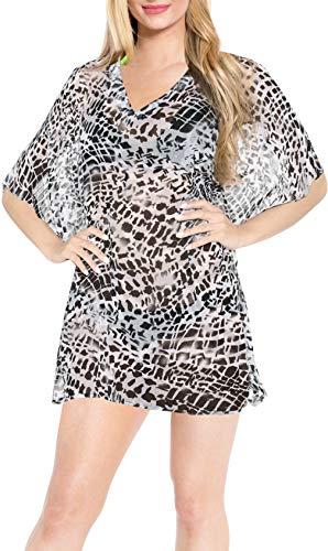 LA LEELA Donne rispecchiano L'Arte Costume da Bagno Chiffon Leggero Pura 4 in 1 Bikini Coprire Tunica Top Loungewear Base Vestito Costume da Bagno Kimono Caftano Grigio Casuale