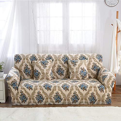 WUFANGFF Bankovertrek, elastische bankafdekking bedrukt slipcover smalle wrap all-inclusive hoekbank afdekking stretch meubel dekt 1/2/3/4-zits 3 Sitz (190-230 cm)