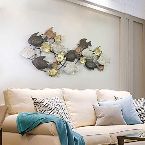 WLHER 3D Stereo Metal Wall Art Sculpture Metal Wall Decoration, European Style Marine Theme Swimming Fish Shape, Perfect for Coastal, Nautical, Beach, Or Boat Décor 133 67 cm
