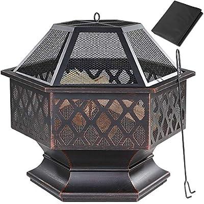 Gardebruk fire basket hexagonal 70x60.5 cm steel flying sparks including poker fire pit fire bowl garden from Gardebruk