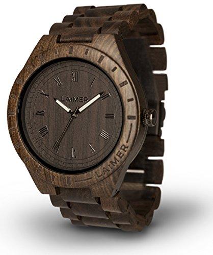 LAiMER 0018 - BLACK EDITION, Orologio analogico da polso al quarzo, con cinturino in legno Sandalo, marrone, uomo