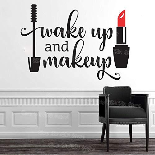 Aufwachen und Make-up Vinyl Wandaufkleber Mädchen Badezimmerspiegel Eitelkeit Aufkleber Wasserdichter Lippenstift Mascara Decals 60x42 cm