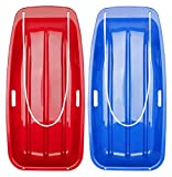 Vtarcza 2 Packs Snow Sled Winter Sleds for Kids and Adult with Pull Rope, Plastic Toboggan for Snow Sledding Sand Sleds 35-Inch, Blue+Red