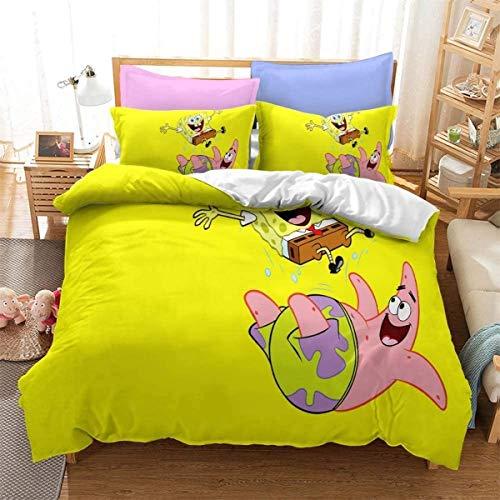 QWAS Juego de ropa de cama de Bob Esponja, 100% microfibra, juego de 3 piezas, funda nórdica estampada en 3D (L5,135 x 200 cm + 80 x 80 cm x 2)