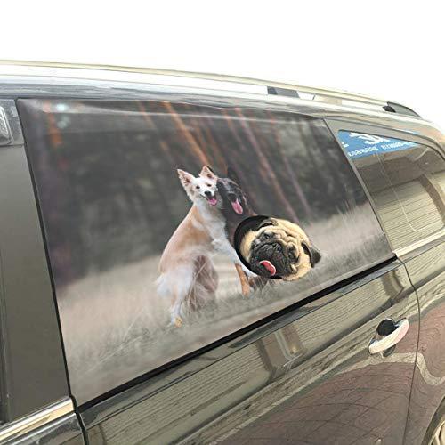 Rtosd Umarmung Nette Hundefreunde Tier Faltbarer Hund Sicherheit Auto Gedruckt Fenster Zaun Vorhang Barrieren Protector Für Baby Kind Einstellbar Flexible Sonnenschutzabdeckung Universal Fit Für SUV