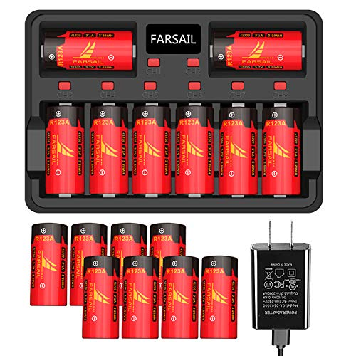 Arlo Rechargeable Batteries and CR123A Charger 16 Pack, FARSAIL 800mAH Rechargeable Battery for Arlo VMC3030 VMK3200 VMS3330 3430 3530, Alarm System, Flasglight and More