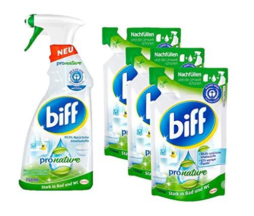 Biff Pro Nature Badreinigung Set (1x 750 ml) Badreiniger und (3x 250 ml) Nachfüllpack