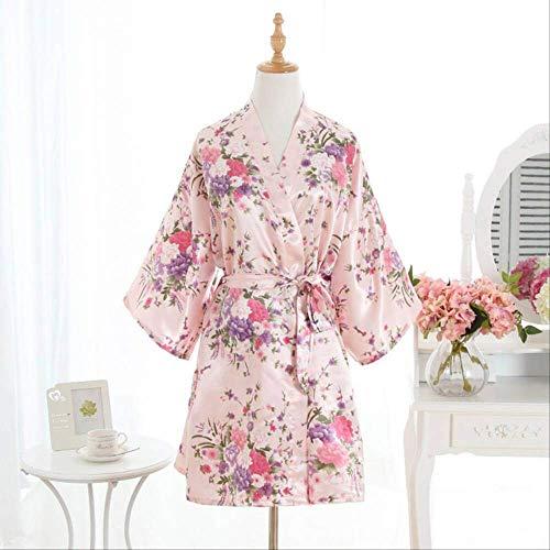 XFLOWR vrouwen satijn kort nachthemd Sakura Floral Kimono Robe badjas bloemen pyjama bruiloft bruidsmeisjes jurk jurk One Size roze