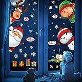 heekpek Noël Autocollants Fenetre Bonhomme de Neige Noël Stickers Muraux Amovibles Mur De FenêTres Père Noël Ouverture de la Porte