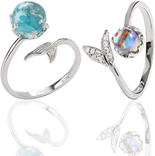 Anello della sirena - WENTS 2PCS Mermaid Tail strass blu Bubble finger apertura regolabile donne anello regalo per la indo...