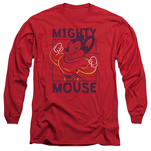Mighty Mouse - T-shirt Break The Box Hommes manches longues, X-Large, Red