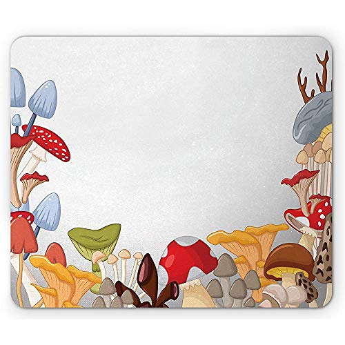 Paddestoel muismat, tros paddestoelen paddestoelen schimmels dieren in het bos Cartoon planten, 25x30cm anti-slip Rubber, Multi kleuren
