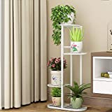 Metal 4 Tier 5 Potted Plant Stand Multiple Flower Pot Holder Shelves Planter Rack Storage Organizer Display for Indoor Outdoor Garden Balcony, Overall Size: 33×17.5 Inch