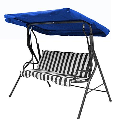 dDanke - Auvent de rechange étanche pour balancelle (tailles 2 ou 3 personnes disponibles) 3 places bleu marine