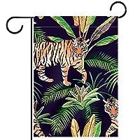 春夏両面フローラルガーデンフラッグウェルカムガーデンフラッグ(28x40in)庭の装飾のため,虎