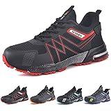 SUADEX Zapatos de Seguridad Hombre Mujer, Punta de Acero Zapatillas de Seguridad Hombre Trabajo, Ligero Respirable Calzado de Trabajo Unisex (Negro Rojo,40EU)