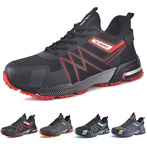 SUADEX Arbeitsschuhe Herren Sicherheitsschuhe Herren Leicht Schutzschuhe mit Stahlkappe Sportlich Atmungsaktiv Schuhe (Schwarz Rot,44EU)