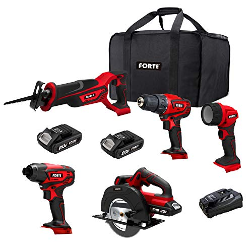 FORTE 20V Max 5-Tool Kit, Drill Driver, Impact Driver, Reciprocating Saw, Circular Saw and Flashlight with 2pcs Li-ion Batteries and Quick Charger