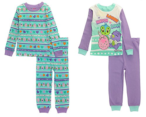 Hatchimals Girls' Toddler Character's 4-Pc Pajama Sleep Set, Purple/Blue, 4T