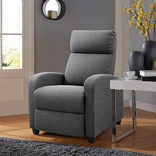 Tuoze Recliner Chair Ergonomic Adjustable Single Fabric Sofa with Thicker Seat Cushion Modern Home Theater Seating for Living Room (Grey)