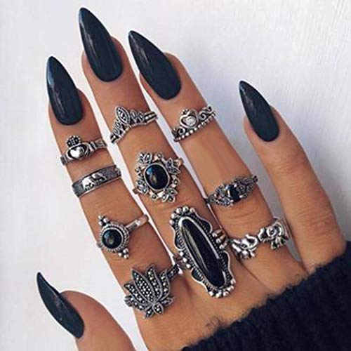 QWV Boho Knuckle Rings Set Vintage Gold Silver Crystal Rings Joint Knot Ring Sets Chic Gem Crystal Rhinestone Carved Midi Finger Rings Jewelry Gifts for Women Girls Ladies Mothers Day
