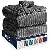 Nestl Bedding Cut Plush Blanket - Queen Size - Lightweight Super Soft Fuzzy Luxury Bed Blanket for Bed - Machine Washable - (90x90) (Dark Grey)