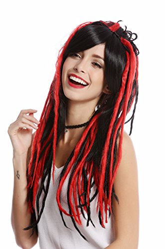 WIG ME UP - GF-W2416-1BHRED Perücke Damenperücke Cosplay lang glatter Scheitel schwarz rote Rasta Dreadlocks