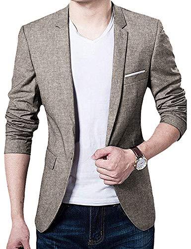 Coshow Men\'s Blazer Slim Fit Jacket with Front Pocket Sporty Jacket Leisure Suit - Khaki - X-Large