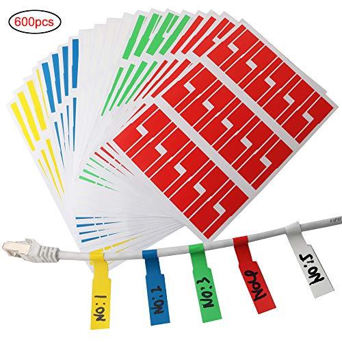 RUNCCI-YUN 600er Selbstklebend Kabeletiketten, UV-beständige, Wasserdicht, Reißfest, Haltbar,5 Farben sortiert(Jeder Farbe 120 Stück)