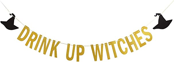 Drink Up Witches HALLOWEEN Banner - Gold Glittery Garland Party Scary Decor - Bunting with Black Sign - Little Decorations Home Supplies - Mantle Spooky Garland Party Decor - Indoor Trick or Treat