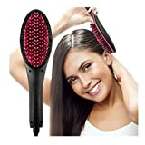 PRXD Ionic Hair Straightener Brush, Ceramic Straightener Comb hair straightening brushes with Digital Display Temperature and Lock Function For Natural Short Hair