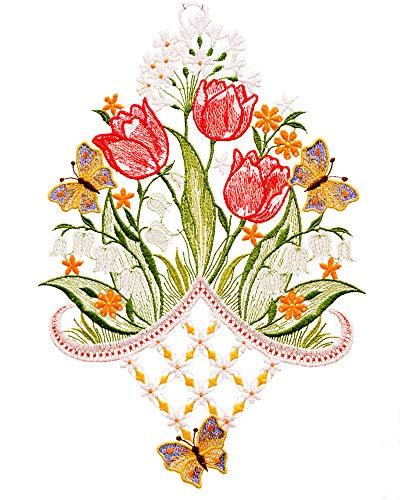 Plauener Spitze farbiges Fensterbild Blumen Frühlingsblumen Tulpen rot HXB ca.32x22 cm