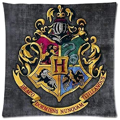 Harry Potter Hogwarts School Sign Gryffindor Ravenclaw Hufflepuff Slytherin Custom Pillowcase Pillow Sham Throw Pillow Cushion Case Cover Two Sides Printed 16x16 inch Two Side