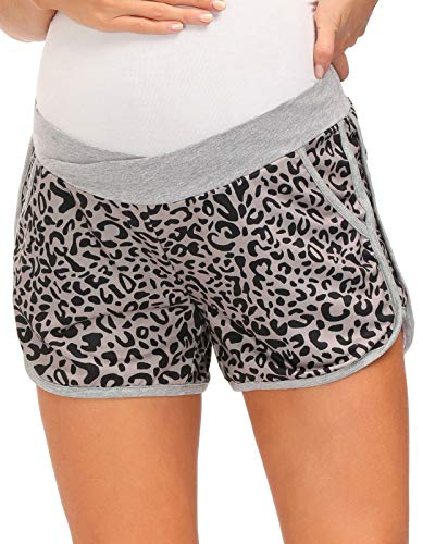 Women Maternity Contrast Stripe Decorated Shorts Underbelly Cross Front